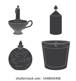 Vector design of candlelight and decoration symbol. Set of candlelight and wax vector icon for stock.
