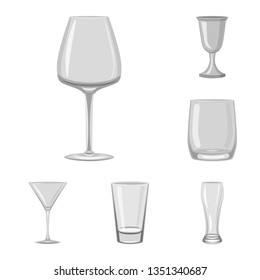Vector design of capacity and glassware logo. Set of capacity and restaurant vector icon for stock.