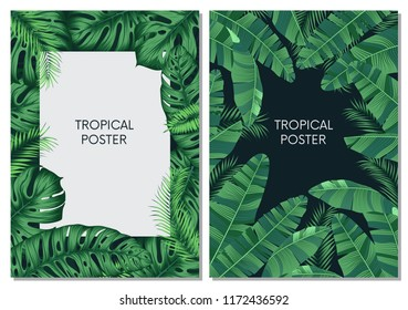 Vector design cards and banners with exotic leaves, tropical printable vector collection