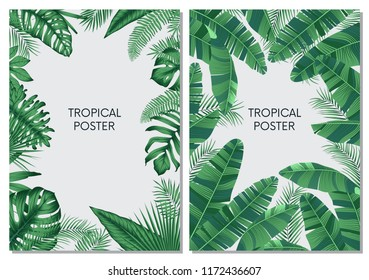 Vector design cards and banners with exotic leaves, tropical printable set