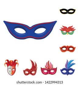 Vector design of carnival and theatrical icon. Set of carnival and mystery vector icon for stock.