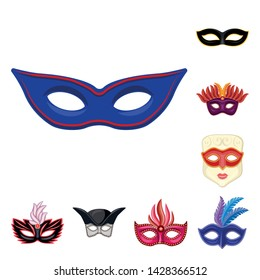 Vector design of carnival and theatrical icon. Collection of carnival and mystery stock symbol for web.