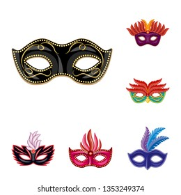 Vector design of carnival and theatrical symbol. Collection of carnival and mystery stock symbol for web.