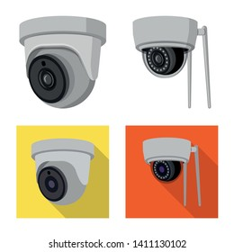 Vector design of cctv and camera sign. Collection of cctv and system vector icon for stock.