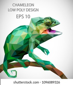 Vector design of chameleon in low poly style.