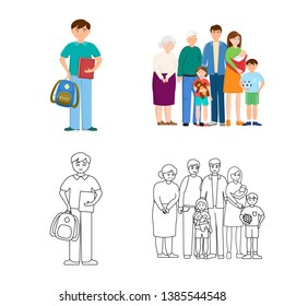 Vector design of character and avatar  icon. Set of character and portrait stock symbol for web.