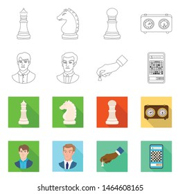 Vector design of checkmate and thin sign. Collection of checkmate and target stock vector illustration.