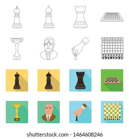 Vector design of checkmate and thin sign. Set of checkmate and target vector icon for stock.