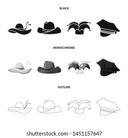 Vector design of clothing and cap symbol. Set of clothing and beret vector icon for stock.