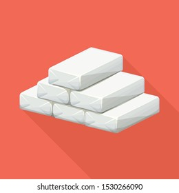 Vector design of cocaine and bag symbol. Graphic of cocaine and powder vector icon for stock.