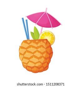 Vector design of cocktail and umbrella symbol. Graphic of cocktail and ananas stock symbol for web.