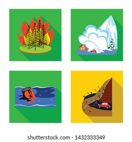 Vector design of collapse and environment sign. Collection of collapse and distress stock vector illustration.