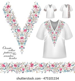 Vector design for collar shirts, blouses, T-shirt. Cute flowers. Colorful embroidery. Seamless border bonus. Pink blue