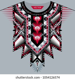 Vector design for collar shirts, shirts, T-shirt. Embroidery ethnic geometric elements for fabric, textile. Aztec geometric neck line design graphics fashion wearing.