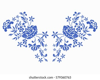 Vector design for collar t-shirts and blouses. Blue ethnic flowers neck line. Embroidery for Fashion