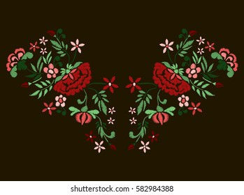 Vector design for collar t-shirts and blouses. Colorful ethnic flowers neck line. Embroidery for Fashion.