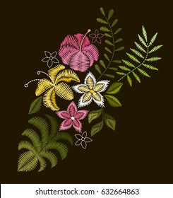 Vector design for collar t-shirts and blouses. Colorful tropic flowers neck line. Embroidery for Fashion.