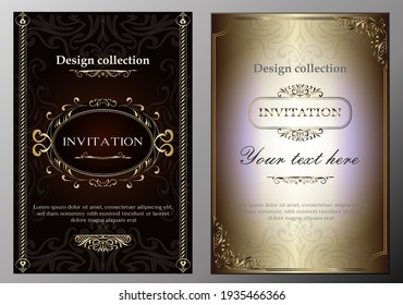 Vector design collection, elements labels icon and gold frames for packaging and design of luxury products