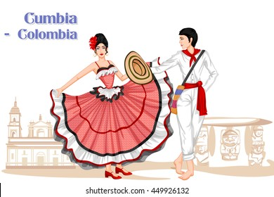 Vector design of Colombian Couple performing Cumbia dance of Colombia