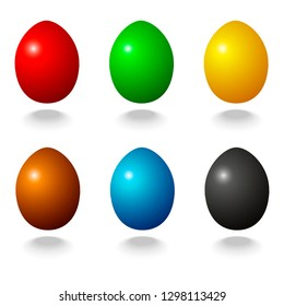 Vector design of colored eggs. Easter colored eggs on the pattern. A collection of colored eggs. Red, green, blue, yellow, brown, black eggs on the pattern.