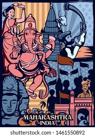 Vector design of colorful cultural display of State Maharashtra in India