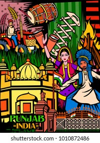 Vector design of colorful culutral display of State Punjab in India