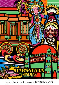 Vector design of colorful culutral display of State Karnataka in India