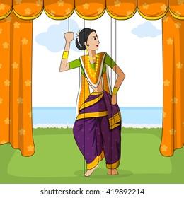 Vector design of colorful Rajasthani Puppet doing Koli folk dance of Maharashtra, India