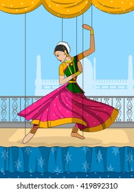 Vector design of colorful Rajasthani Puppet doing Kathak classical dance of Northern India