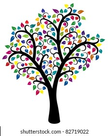 vector design of colorful tree