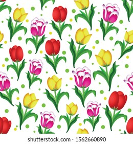 Vector design of colorful tulip types, with a white background, can be used for fabrics, textiles, wrapping paper, tablecloths, curtain fabrics, clothing etc.