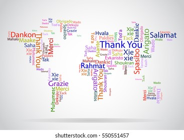 Vector design concept for International Thank You Day or Thanksgiving Day. Colorful multilanguage Thank You word cloud made in the form of a world map.