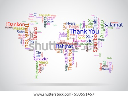 ec07ead79573 Vector design concept for International Thank You Day or Thanksgiving Day.  Colorful multilanguage Thank You