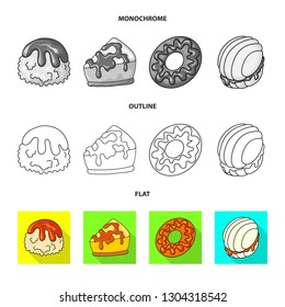 Vector design of confectionery and culinary symbol. Collection of confectionery and product stock symbol for web.