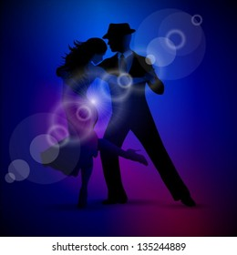 Vector design with couple dancing tango on dark background. EPS 10 illustration