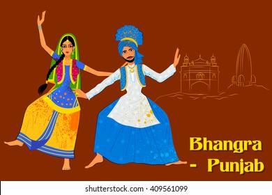 Vector design of Couple performing Bhangra folk dance of Punjab, India