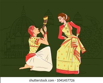 Vector design of Couple performing Bihu folk dance of Assam, India