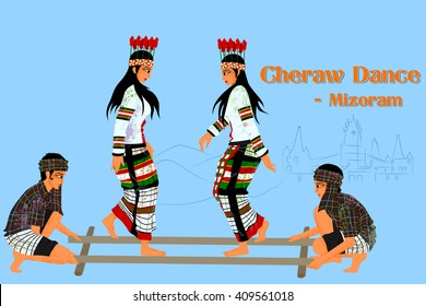 Vector design of Couple performing Cheraw folk dance of Mizoram, India