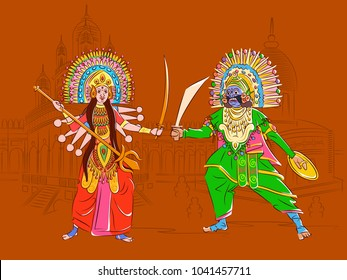 Vector design of Couple performing Chhau folk dance of Jharkhand, India