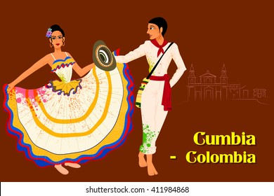 Vector design of Couple performing Cumbia dance of Colombia