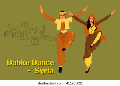 Vector design of Couple performing Dabke dance of Syria