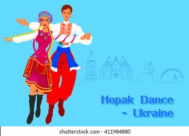 Vector design of Couple performing Hopak Dance of Ukraine
