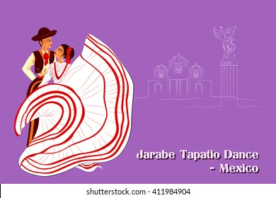 Vector design of Couple performing Jarabe Tapatio Dance of Mexico