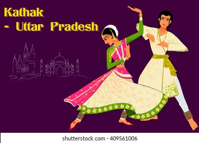Vector design of Couple performing Kathak classical dance of Northern India