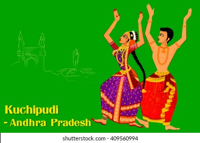 Vector design of Couple performing Kuchipudi classical dance of Andhra Pradesh, India