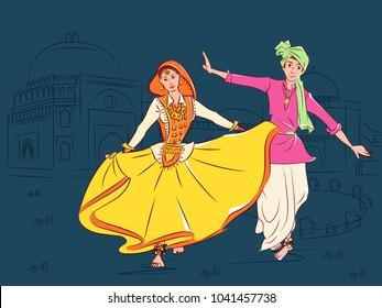Vector design of Couple performing Phag folk dance of Haryana, India
