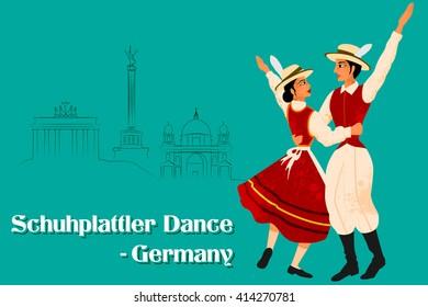 Vector design of Couple performing Schuhplattler dance of Germany