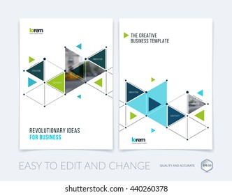 Vector design for cover annual report. Brochure or flyer in A4 with blue triangles and arrows for business and communication in flat style with grid connection concept. Abstract modern poster.