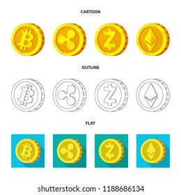 Vector design of cryptocurrency and coin sign. Set of cryptocurrency and crypto stock symbol for web.