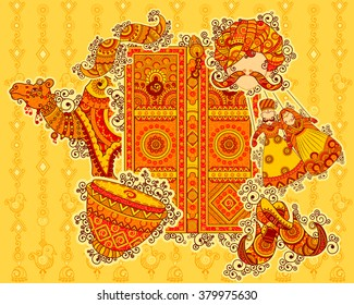 Vector design of culture of Rajasthan in Indian art style